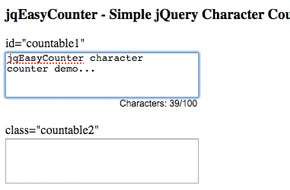 jQuery Character Counter Plugin